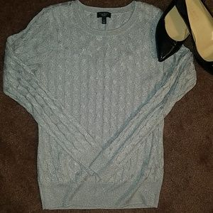 TALBOTS Silver Sparkle Crewneck Cable Sweater